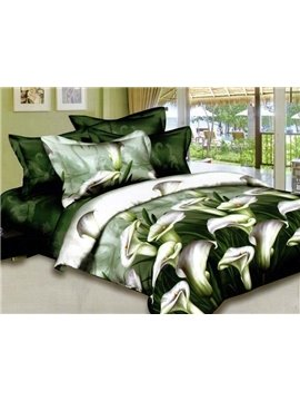 Elegant Green Calla Lily Print Duvet Cover Sets 4 Piece Bedding Sets