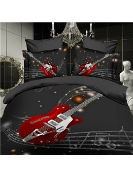 Fashion Guitar with Stave Print 4 Piece Bedding Sets/Duvet Cover Sets