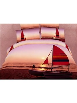Amazing Sunset Scene with Sailing Ship Print 4 Piece Bedding Sets/Duvet Cover Sets