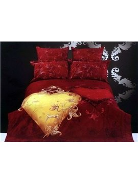 Romantic Yellow Heart Print 4 Piece Bedding Sets/Duvet Cover Sets