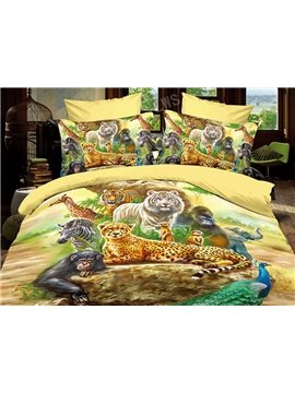 Pure Cotton Cute Cartoon Animals Print 4 Piece Bedding Sets/Duvet Cover Sets