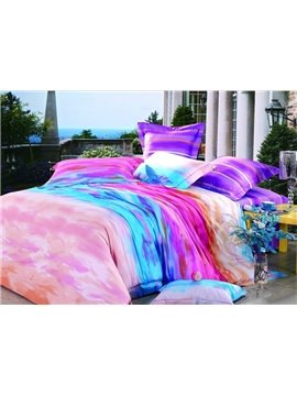 Luxury High Quality Gradient Color Print 4 Piece Bedding Sets/Duvet Cover Sets