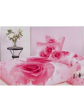Romantic Pink Roses 3D Reactive Printing 4 Piece Bedding Sets/Duvet Sets