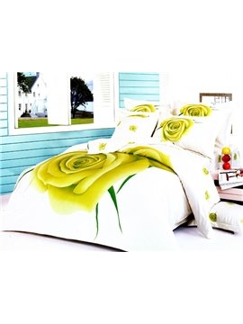 Unique Yellow Roses Big Flower Print 4 Piece Bedding Sets/Duvet Cover Sets