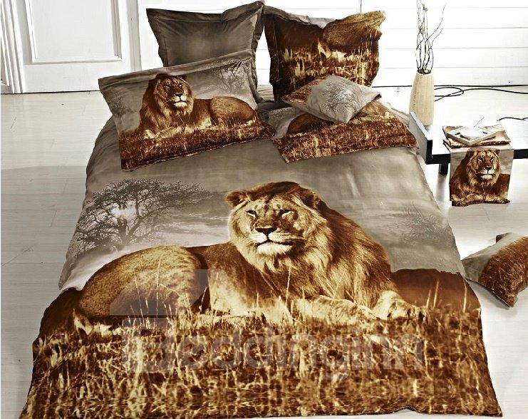 New Arrival Brown Lion 3d Print Pure Cotton 4 Piece