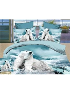 New Arrival White Polar Bear Print Bedding Sets 4 Piece Duvet Cover Sets