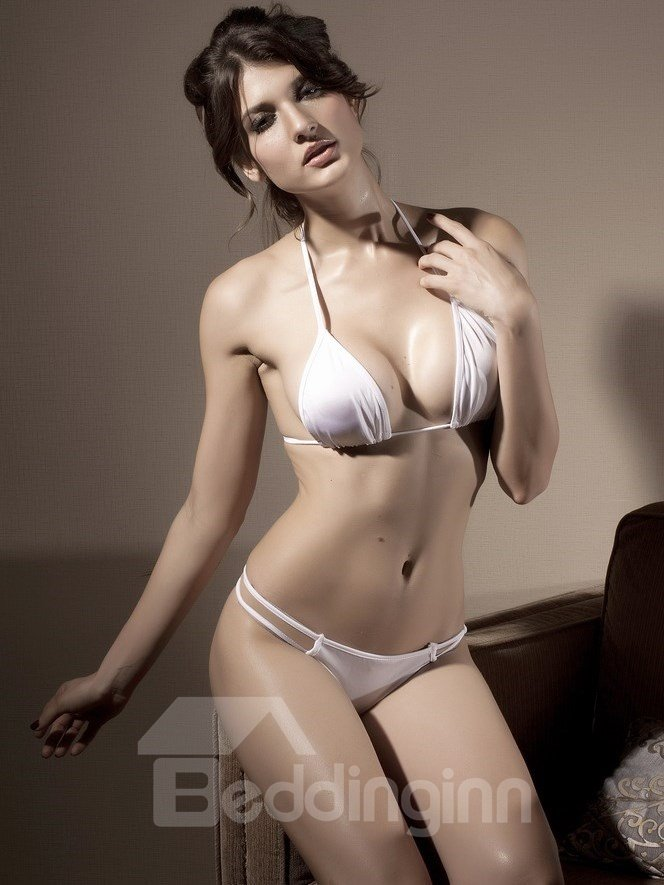 Seductive White Triangle Bra Set Swimwear - beddinginn.com