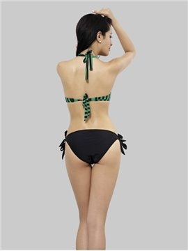 Elegant Sexy Daeep Green Striped  Bikini Set