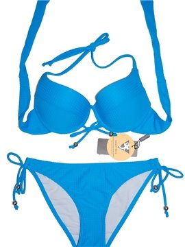 Solid Color Halter Top-up Swimwear Sexy Two-piece Bikini