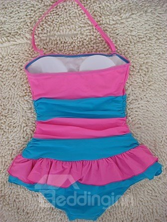 Sweety Pink and Blue Swimwear with Falbala One-piece Tankini