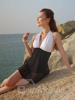 Sexy Black and White Deep V-Neck Monokini