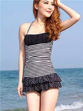 Adorable Halter Stripe Spot Swimwear