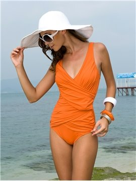 Charming Whole Color Fold One Piece Swimwear