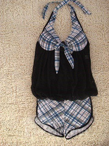 Black Plaid Short Sleeve Swimwear Sexy Halter Tankini