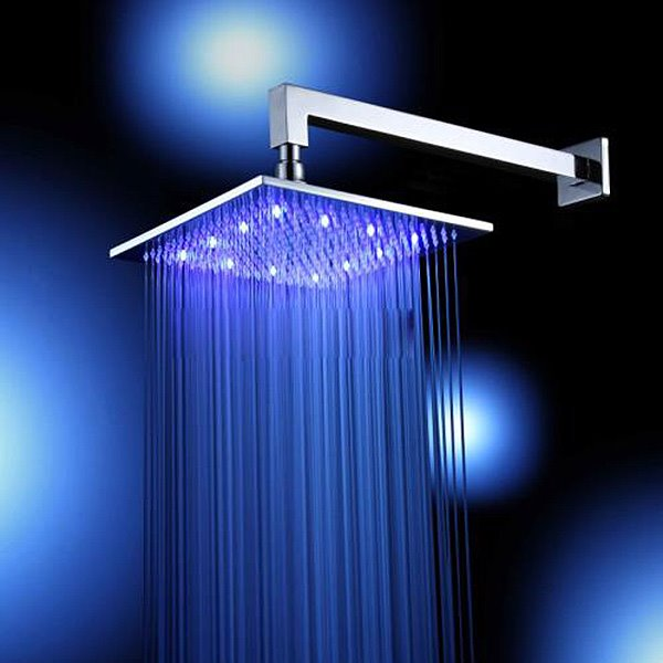 12 Inches LED Big Rainfall Shower Head faucet Hydro Power