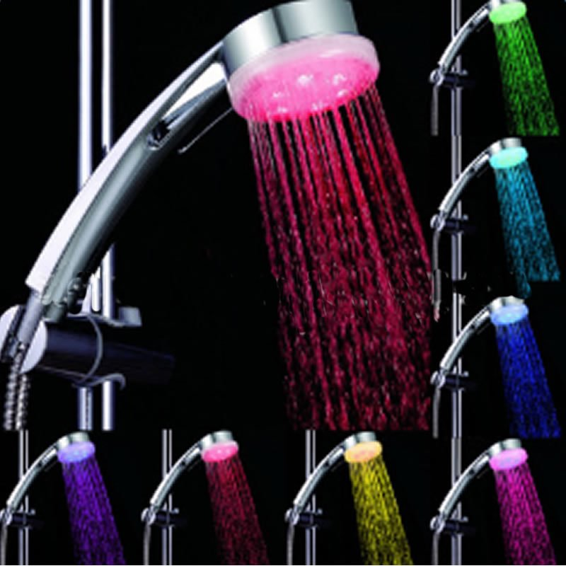 pressure boost led seven colors shower head faucet. Black Bedroom Furniture Sets. Home Design Ideas