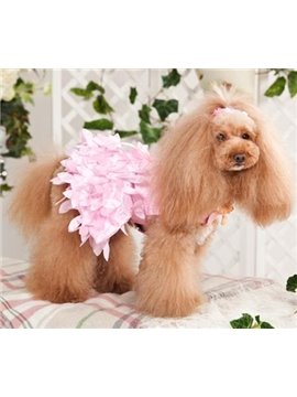 New Arrival Hot Pink Flower Lacework Dress Style Fashion Dog Clothing