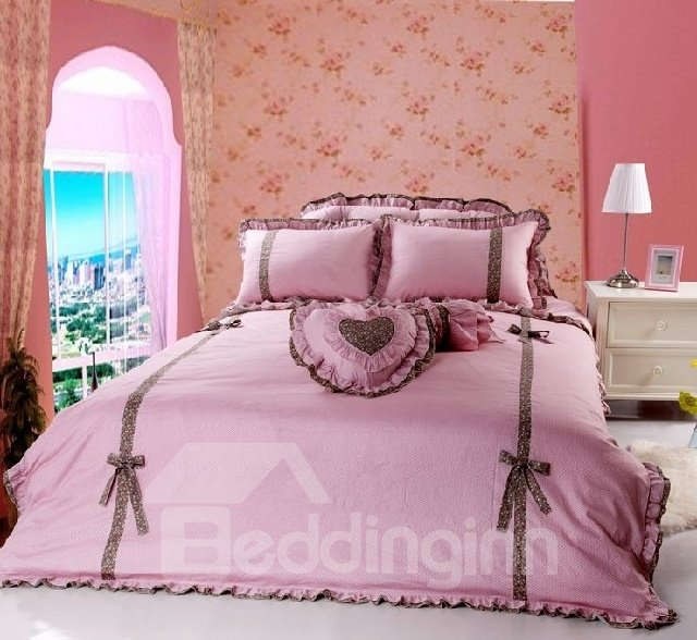 100% High Quality Cotton Princess Style Pink Color 4 Piece Bedding Sets