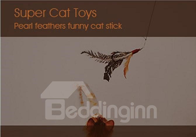 Hot Sales Cat Toys Natural Pearl Feather Funny Cat Stick