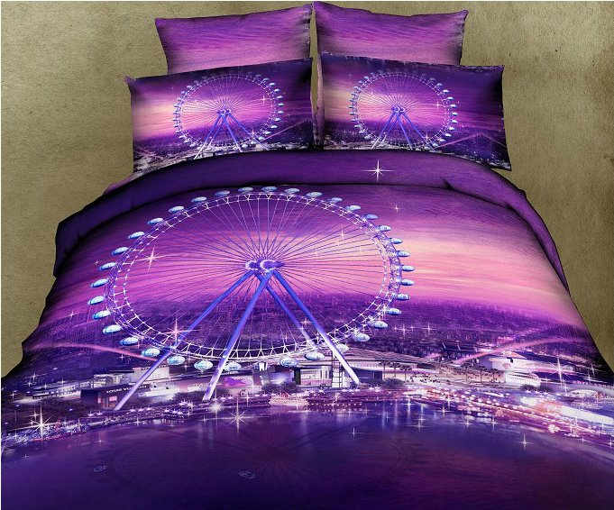Romantic Ferris wheel Purple Color 4 Piece Bedding Sets