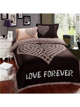 100% Cotton Love Heart Print Brown Bedding Sets 4 Piece Duvet Cover Sets