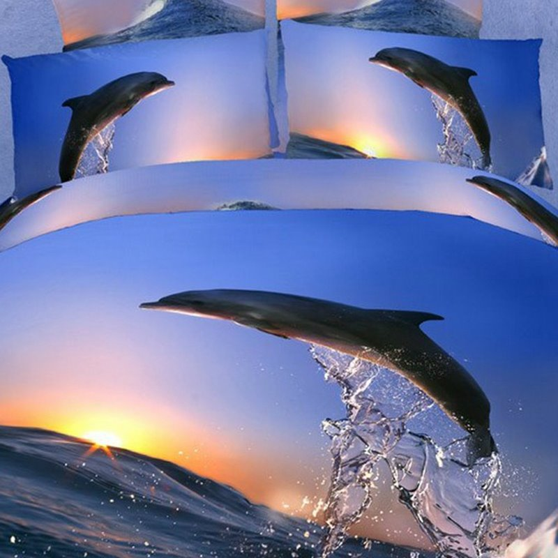 New Jumping Dolphin with Sunrise Print 4 Piece Bedding Sets