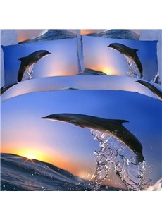 Jumping Dolphin with Sunrise Print 4 Piece Bedding Sets