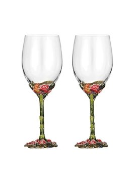Colored Enamel crystal Goblet Red Wine Glass/2 Pieces