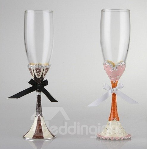 Great Gift Idea for Wedding Crystal Enamel Red Wine Goblet/2 Pieces