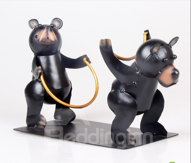 Cute Bear Brothers Design Wine Rack
