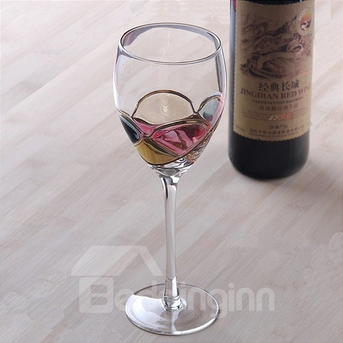 Coloured Drawing/pattern Red Wine Goblet Glasses