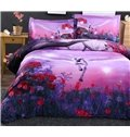 Dreamlike Flying Horse with Wings Purple 4-Piece Polyester Duvet Cover Sets