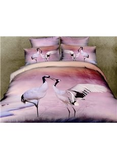 Beautiful Red-crowned crane Print with Elegant Color 4 Piece Bedding Sets