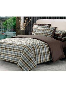 High Quality  Elegant Vintage London Style Check pattern 4 Piece Bedding Sets