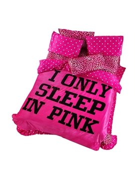 Sexy Pink Leopard Flannel 4 Piece Bedding Sets