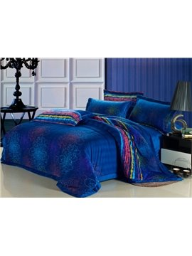 New Arrival Super Soft Luxury Superfine fiber Blue 4 Piece Bedding Sets