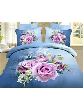 Big Pink/Purple Roses Print 4 Piece Blue Bedding Sets/Comforter Sets