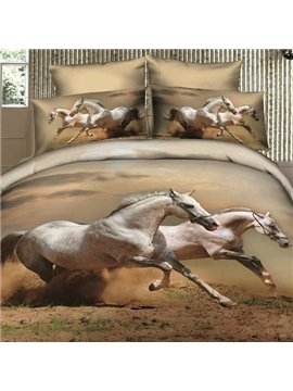 Running white Horses lifelike Print 4 Piece Bedding sets/Comforter Sets