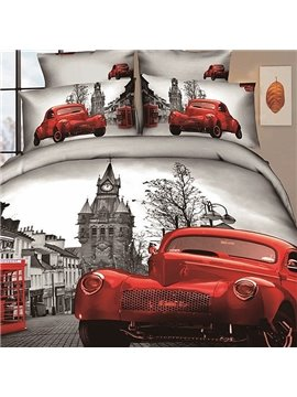 Modern City with Red car and street scene Print 4 Piece Bedding Sets/Comforter Sets