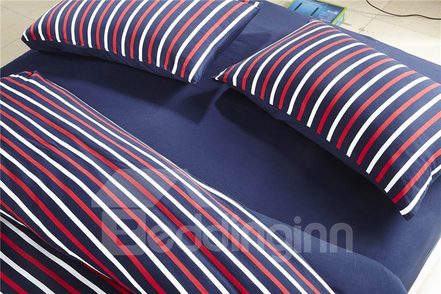 Fashion Style  Unique  Knitting Material Stripe 4 Piece Bedding Sets