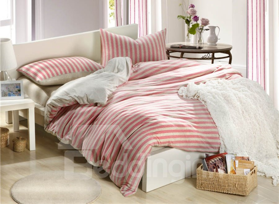 100% High Quality Cotton Unique Knitting White and Pink Stripe 4 Piece Bedding Sets