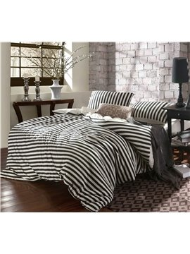 Pure Cotton Classic white and Black stripes 4 Piece Bedding Sets/Comforter Sets