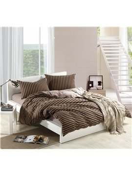 Simple Morden Style Coffee Color Stripes 4 Piece Bedding Sets/Duvet Cover Sets
