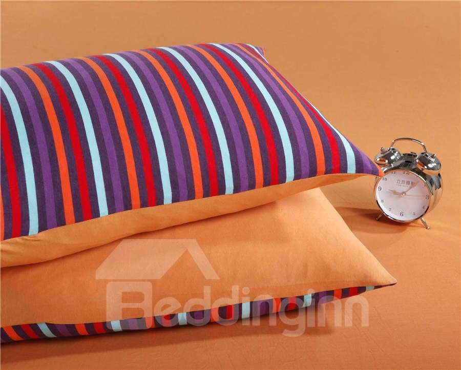 Unique Pure Cotton Knitting Stripes 4 Piece Bedding Sets