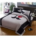 Modern Simple White and Black mustache Print 4 Piece Bedding Sets