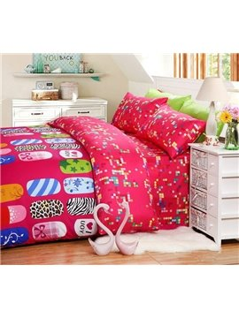 Fashion nail designs Print 4 Piece Pink Bedding Sets