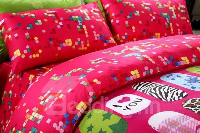 Fashion nail designs Print 4 Piece Pink Bedding Sets