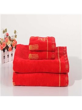 New Arrival 100% Cotton Red Festive Towel