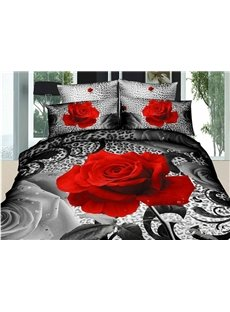 Luxury Big Roses Print Black 4 Piece Bedding Sets/Duvet Cover Sets