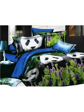 Cute Panda in grass Print pure Cotton 4 Piece Bedding Sets